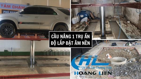 lắp đặt cầu nâng 1 trụ rửa xe ô tô âm nền