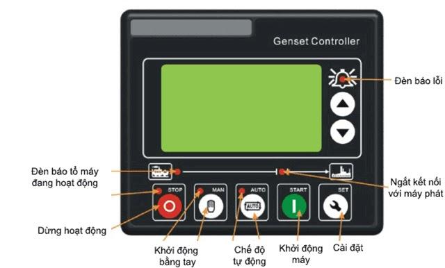 máy phát điện báo lỗi trên màn hình