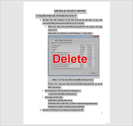 Xóa một trang có chứa văn bản hoặc đồ họa